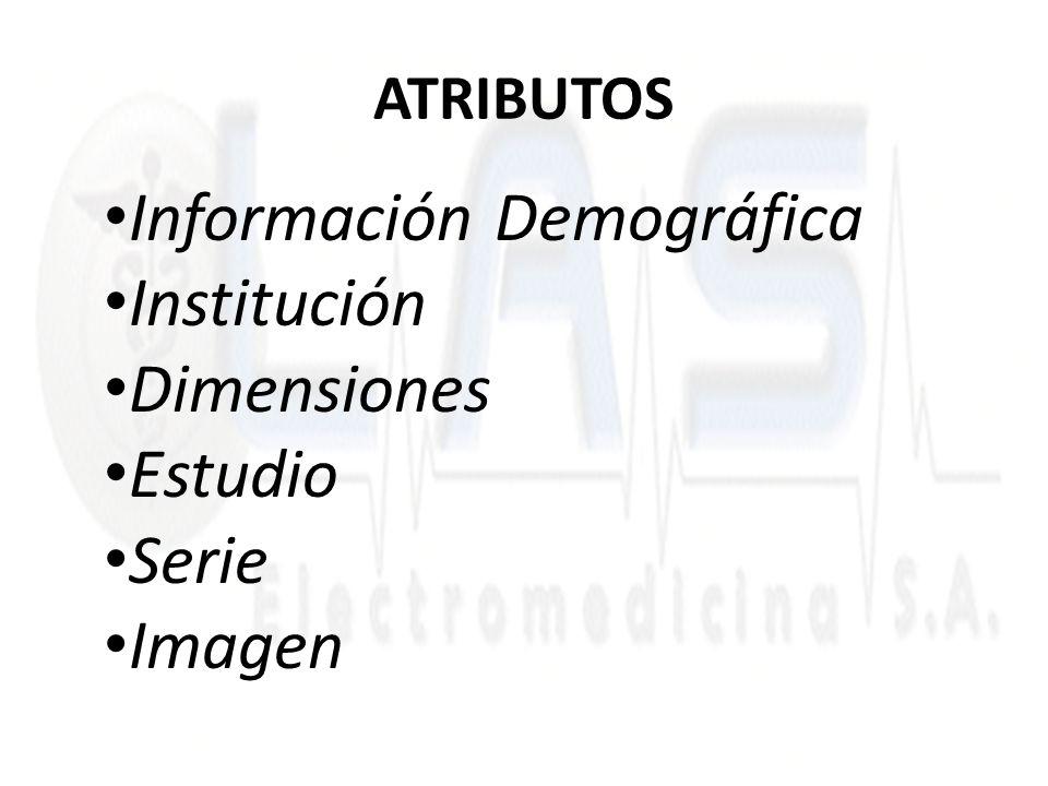 ATRIBUTOS Información Demográfica Institución Dimensiones Estudio Serie Imagen