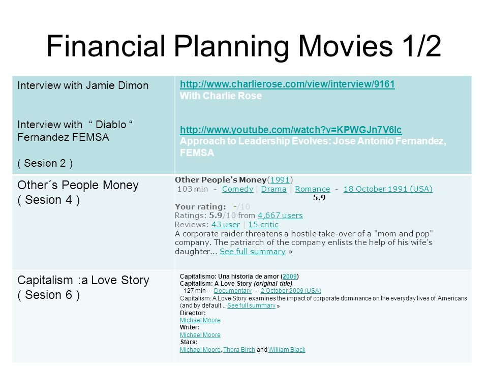 Financial Planning Movies 1/2 Interview with Jamie Dimon Interview with Diablo Fernandez FEMSA ( Sesion 2 ) http://www.charlierose.com/view/interview/