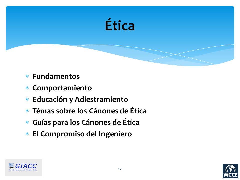 Ética Fundamentos Comportamiento Educación y Adiestramiento Témas sobre los Cánones de Ética Guías para los Cánones de Ética El Compromiso del Ingenie