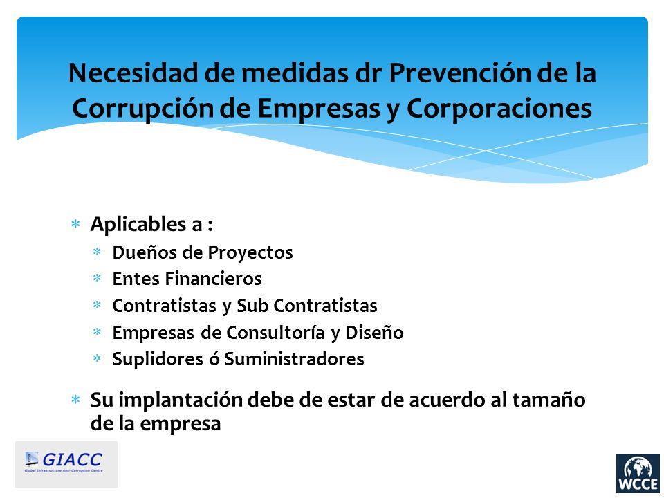 Necesidad de medidas dr Prevención de la Corrupción de Empresas y Corporaciones Aplicables a : Dueños de Proyectos Entes Financieros Contratistas y Su
