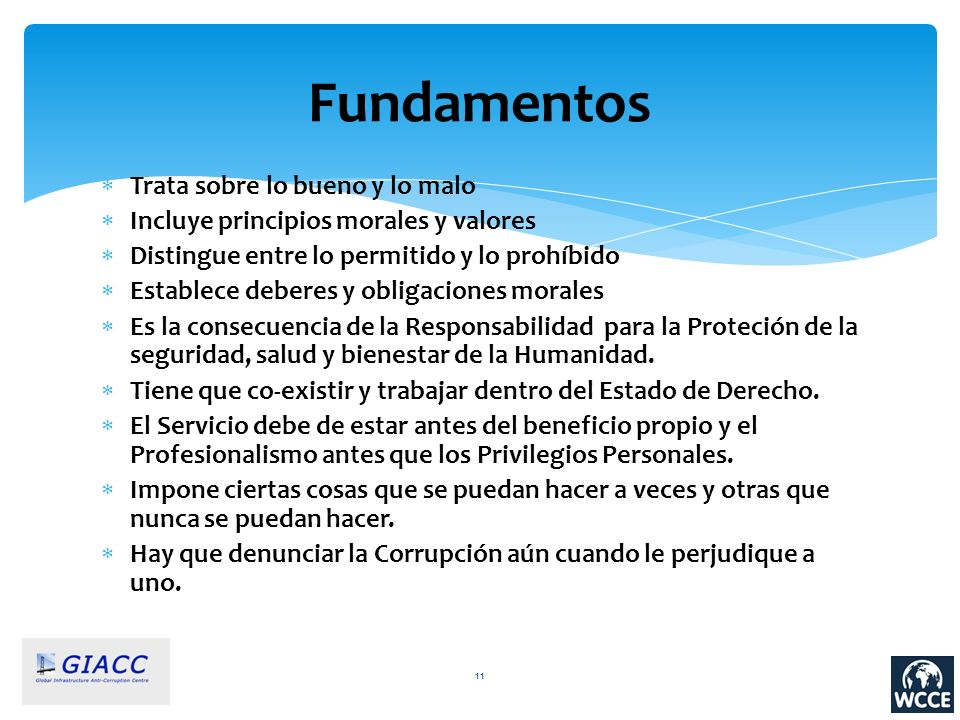 Fundamentos Trata sobre lo bueno y lo malo Incluye principios morales y valores Distingue entre lo permitido y lo prohíbido Establece deberes y obliga