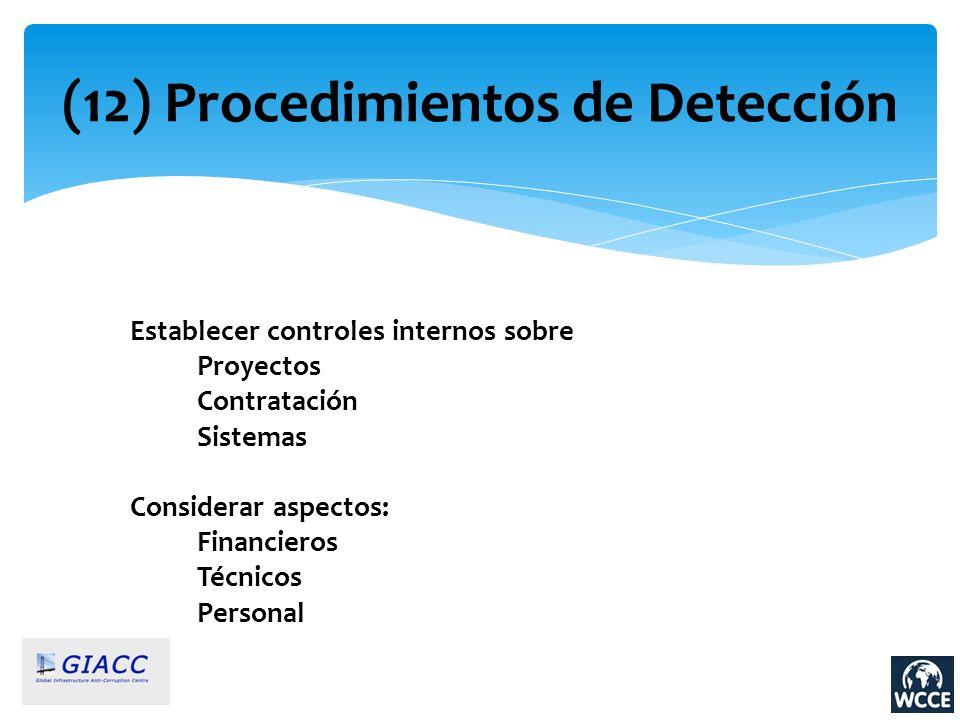 (12) Procedimientos de Detección Establecer controles internos sobre Proyectos Contratación Sistemas Considerar aspectos: Financieros Técnicos Persona