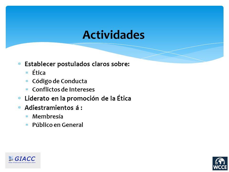Actividades Establecer postulados claros sobre: Ética Código de Conducta Conflictos de Intereses Liderato en la promoción de la Ética Adiestramientos