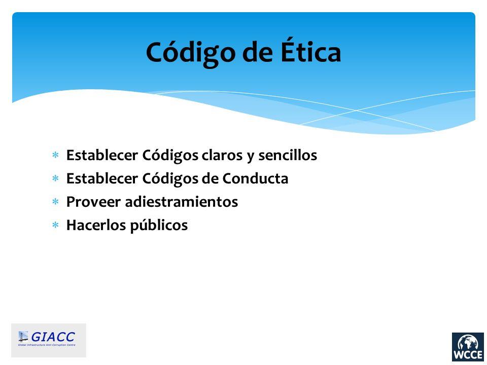 Código de Ética Establecer Códigos claros y sencillos Establecer Códigos de Conducta Proveer adiestramientos Hacerlos públicos