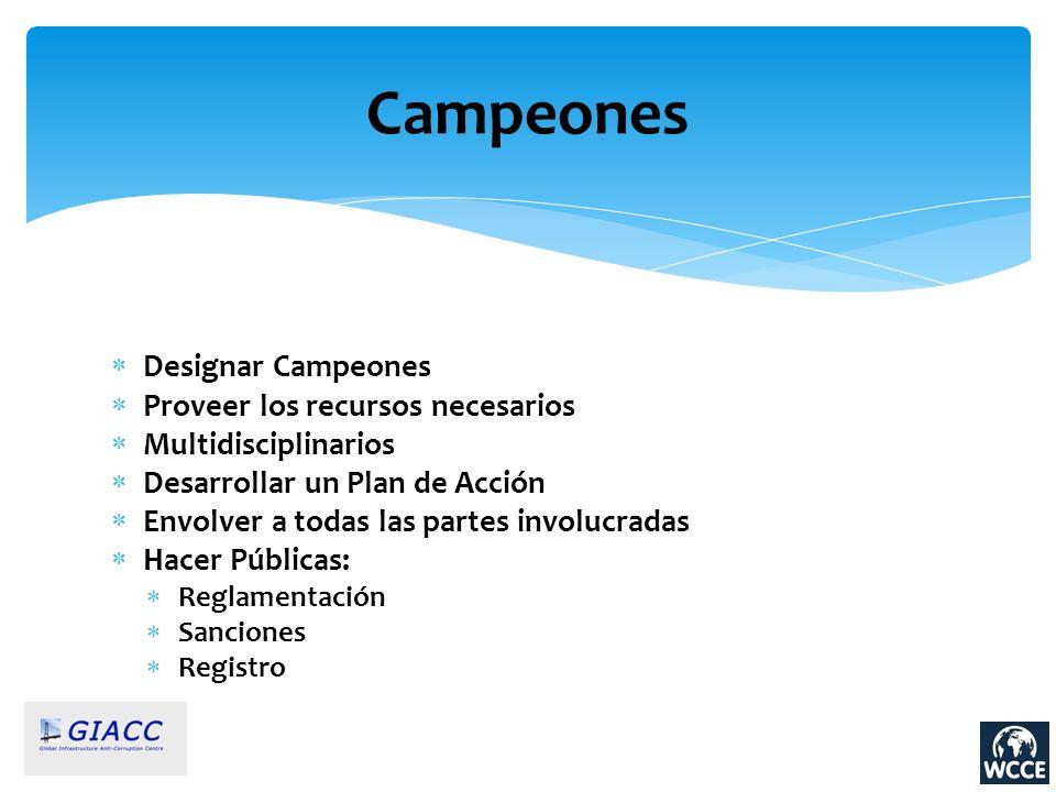 Campeones Designar Campeones Proveer los recursos necesarios Multidisciplinarios Desarrollar un Plan de Acción Envolver a todas las partes involucrada