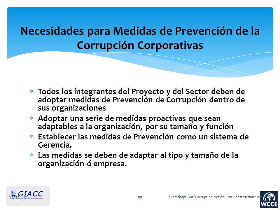 © 2010 GIACC132 Necesidades para Medidas de Prevención de la Corrupción Corporativas Todos los integrantes del Proyecto y del Sector deben de adoptar