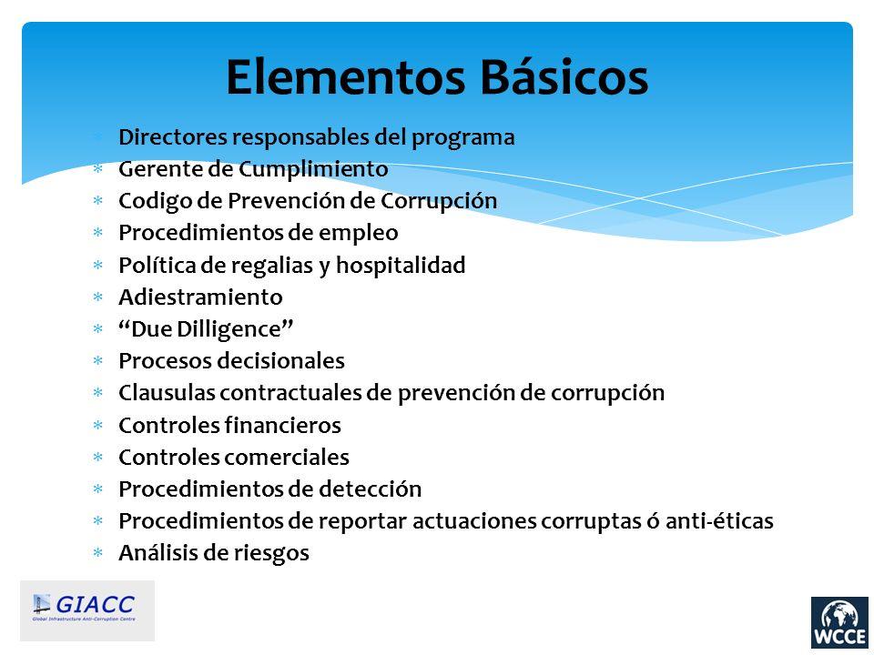 Directores responsables del programa Gerente de Cumplimiento Codigo de Prevención de Corrupción Procedimientos de empleo Política de regalias y hospit