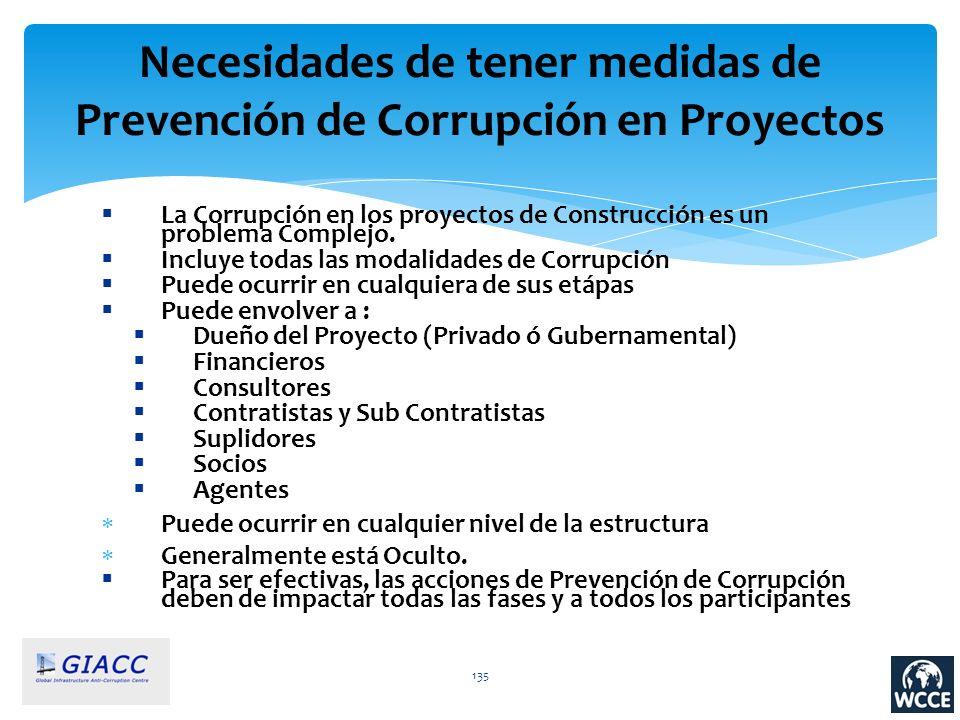 135 Necesidades de tener medidas de Prevención de Corrupción en Proyectos La Corrupción en los proyectos de Construcción es un problema Complejo. Incl