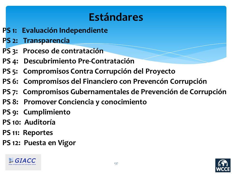 137 Estándares PS 1: Evaluación Independiente PS 2: Transparencia PS 3: Proceso de contratación PS 4: Descubrimiento Pre-Contratación PS 5: Compromiso