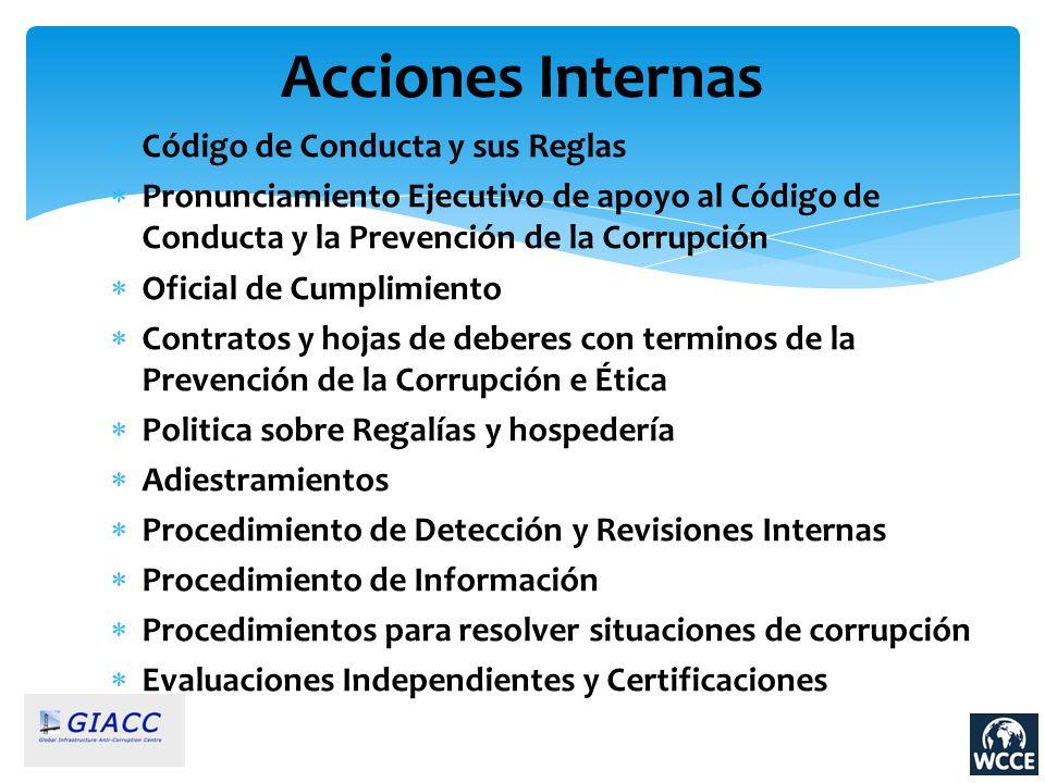 Código de Conducta y sus Reglas Pronunciamiento Ejecutivo de apoyo al Código de Conducta y la Prevención de la Corrupción Oficial de Cumplimiento Cont