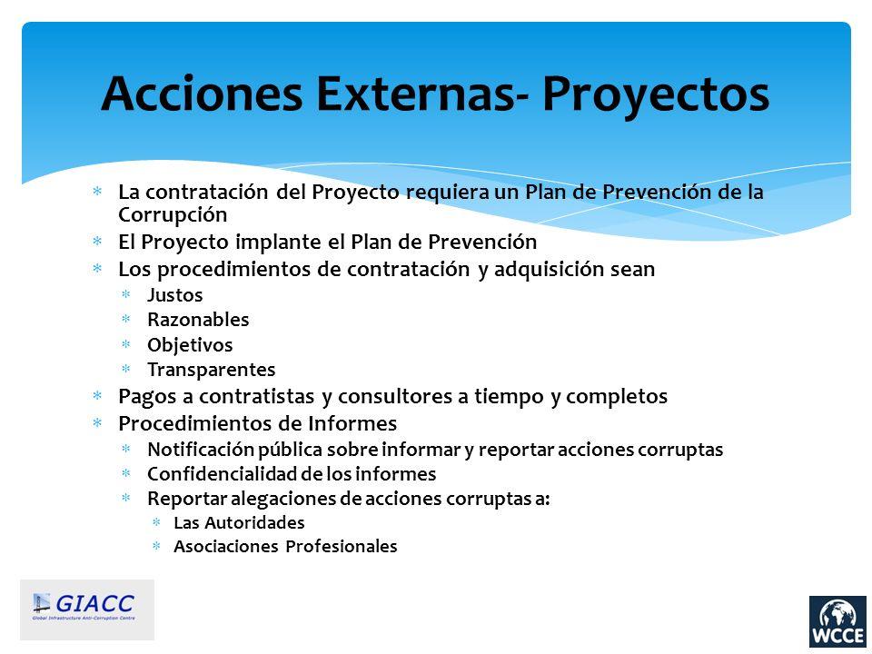 La contratación del Proyecto requiera un Plan de Prevención de la Corrupción El Proyecto implante el Plan de Prevención Los procedimientos de contrata