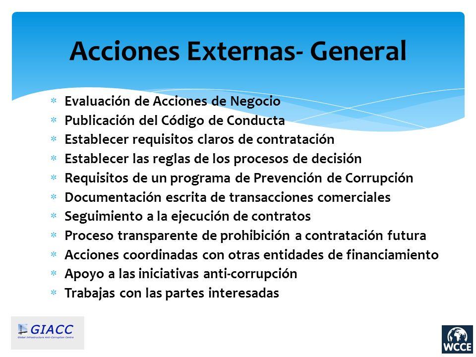 Evaluación de Acciones de Negocio Publicación del Código de Conducta Establecer requisitos claros de contratación Establecer las reglas de los proceso