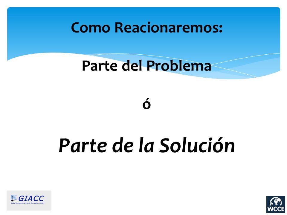 Como Reacionaremos: Parte del Problema ó Parte de la Solución