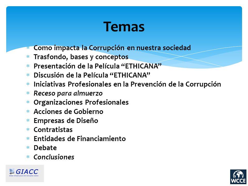 Como impacta la Corrupción en nuestra sociedad Trasfondo, bases y conceptos Presentación de la Película ETHICANA Discusión de la Película ETHICANA Ini