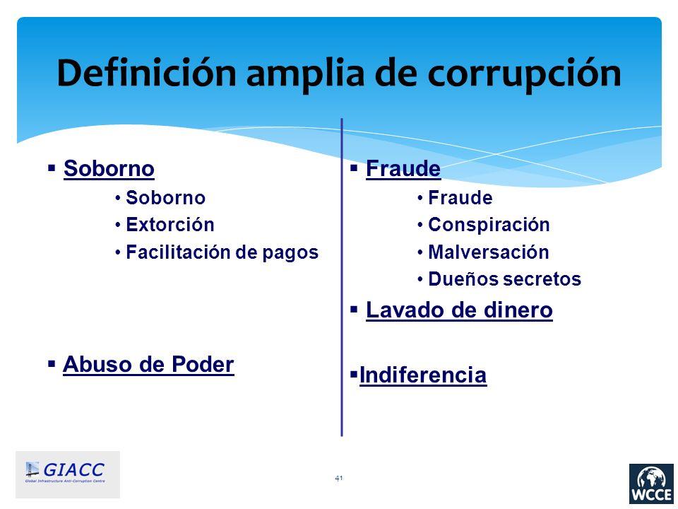 41 Definición amplia de corrupción Soborno Extorción Facilitación de pagos Abuso de Poder Fraude Conspiración Malversación Dueños secretos Lavado de d