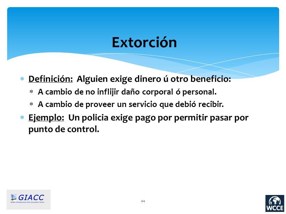 44 Extorción Definición: Alguien exige dinero ú otro beneficio: A cambio de no inflijir daño corporal ó personal. A cambio de proveer un servicio que