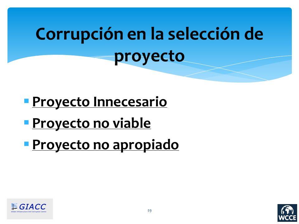 59 Corrupción en la selección de proyecto Proyecto Innecesario Proyecto no viable Proyecto no apropiado