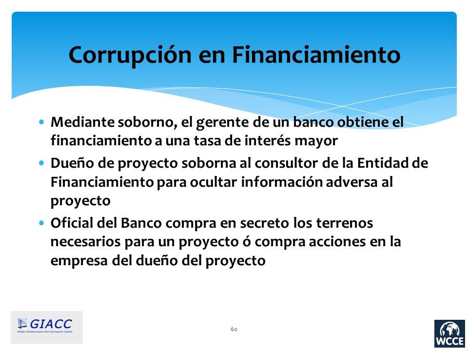 60 Corrupción en Financiamiento Mediante soborno, el gerente de un banco obtiene el financiamiento a una tasa de interés mayor Dueño de proyecto sobor