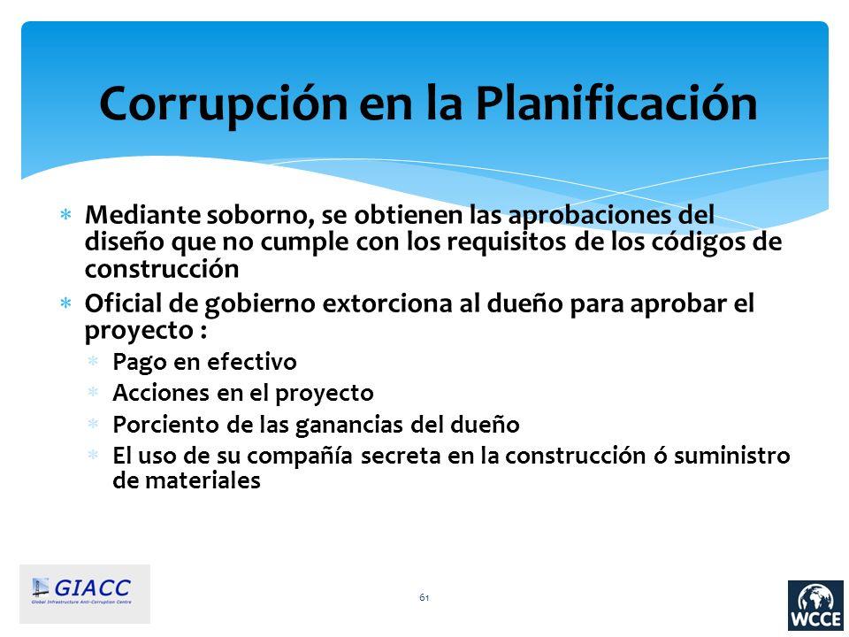 61 Corrupción en la Planificación Mediante soborno, se obtienen las aprobaciones del diseño que no cumple con los requisitos de los códigos de constru