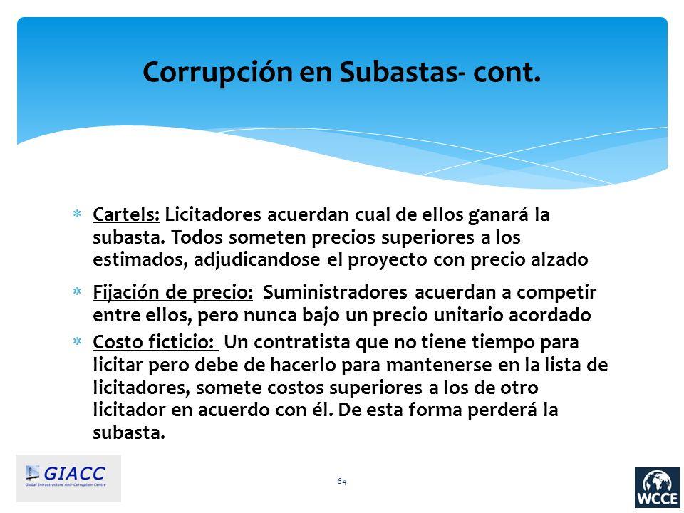 64 Corrupción en Subastas- cont. Cartels: Licitadores acuerdan cual de ellos ganará la subasta. Todos someten precios superiores a los estimados, adju