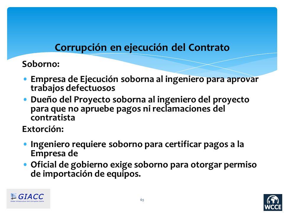 65 Corrupción en ejecución del Contrato Soborno: Empresa de Ejecución soborna al ingeniero para aprovar trabajos defectuosos Dueño del Proyecto soborn