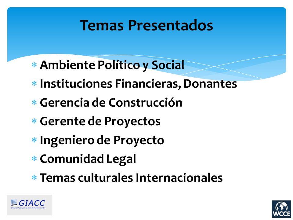 Ambiente Político y Social Instituciones Financieras, Donantes Gerencia de Construcción Gerente de Proyectos Ingeniero de Proyecto Comunidad Legal Tem