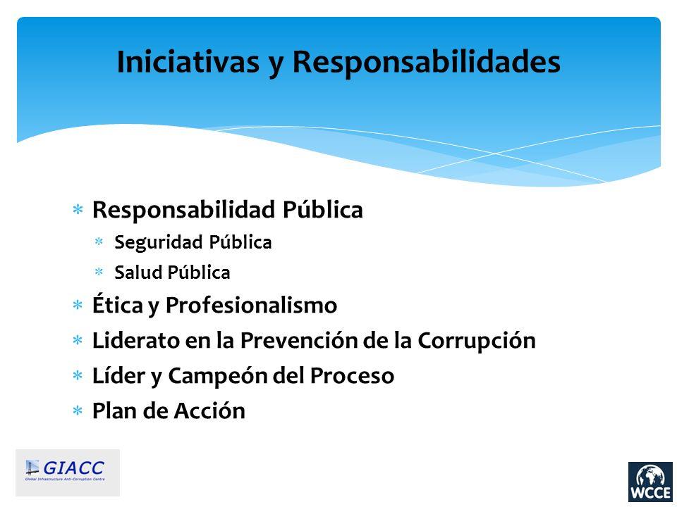 Responsabilidad Pública Seguridad Pública Salud Pública Ética y Profesionalismo Liderato en la Prevención de la Corrupción Líder y Campeón del Proceso