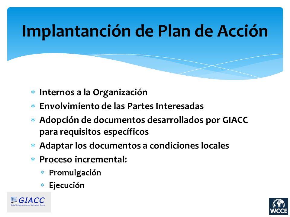 Implantanción de Plan de Acción Internos a la Organización Envolvimiento de las Partes Interesadas Adopción de documentos desarrollados por GIACC para