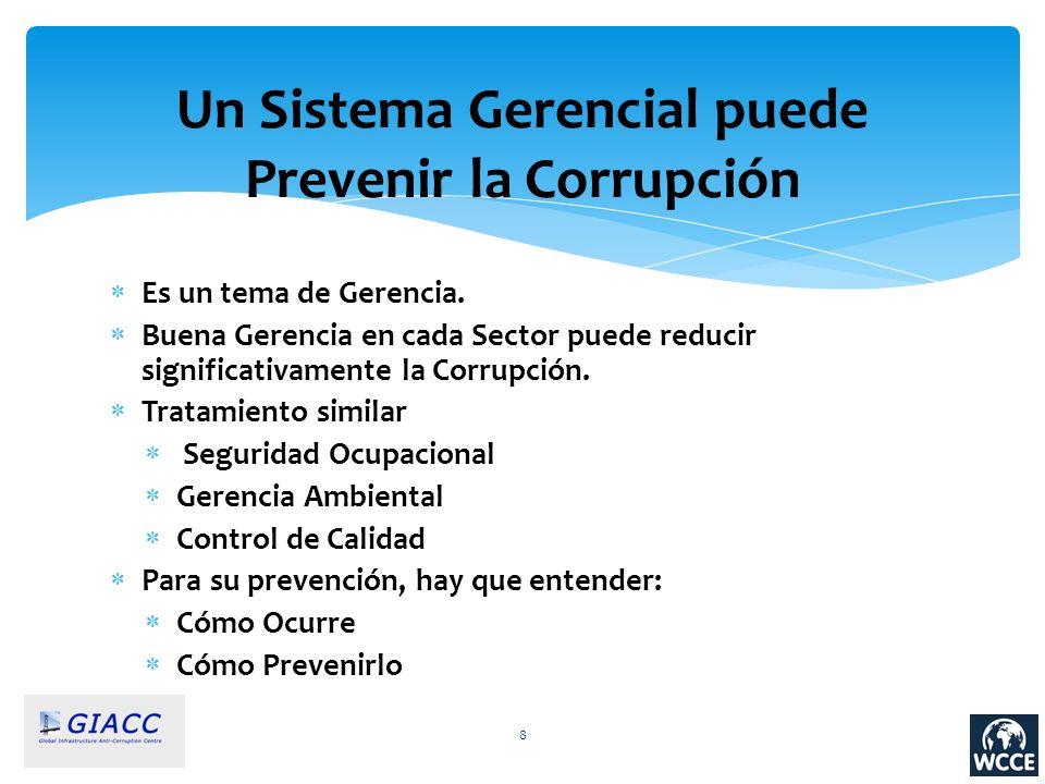 8 Un Sistema Gerencial puede Prevenir la Corrupción Es un tema de Gerencia. Buena Gerencia en cada Sector puede reducir significativamente la Corrupci