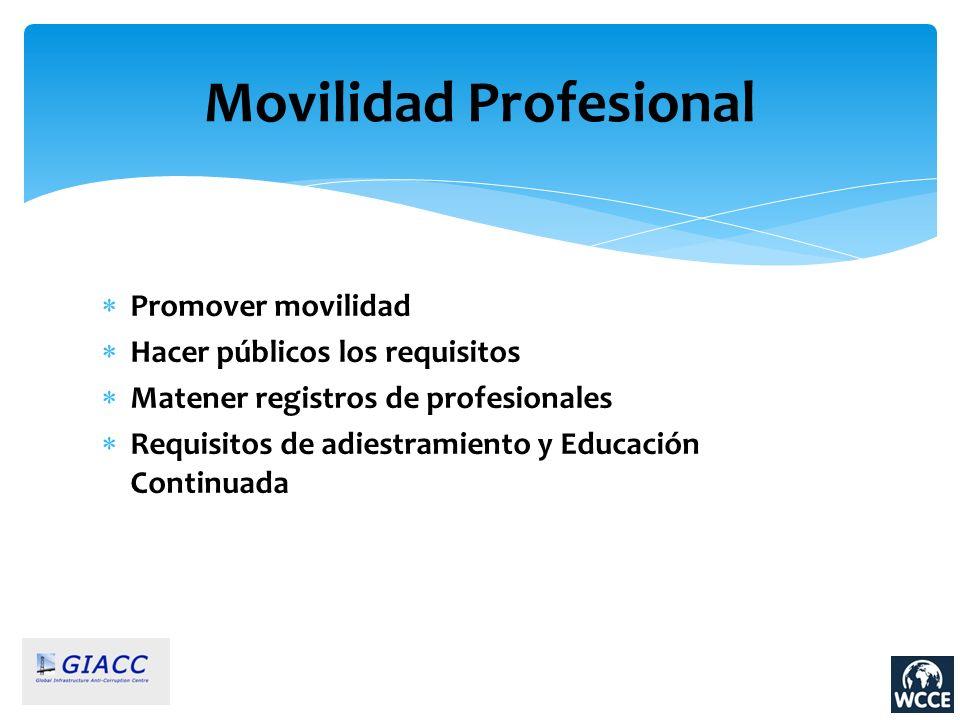 Movilidad Profesional Promover movilidad Hacer públicos los requisitos Matener registros de profesionales Requisitos de adiestramiento y Educación Con