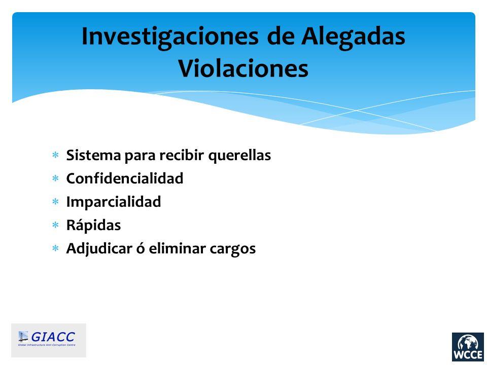 Investigaciones de Alegadas Violaciones Sistema para recibir querellas Confidencialidad Imparcialidad Rápidas Adjudicar ó eliminar cargos