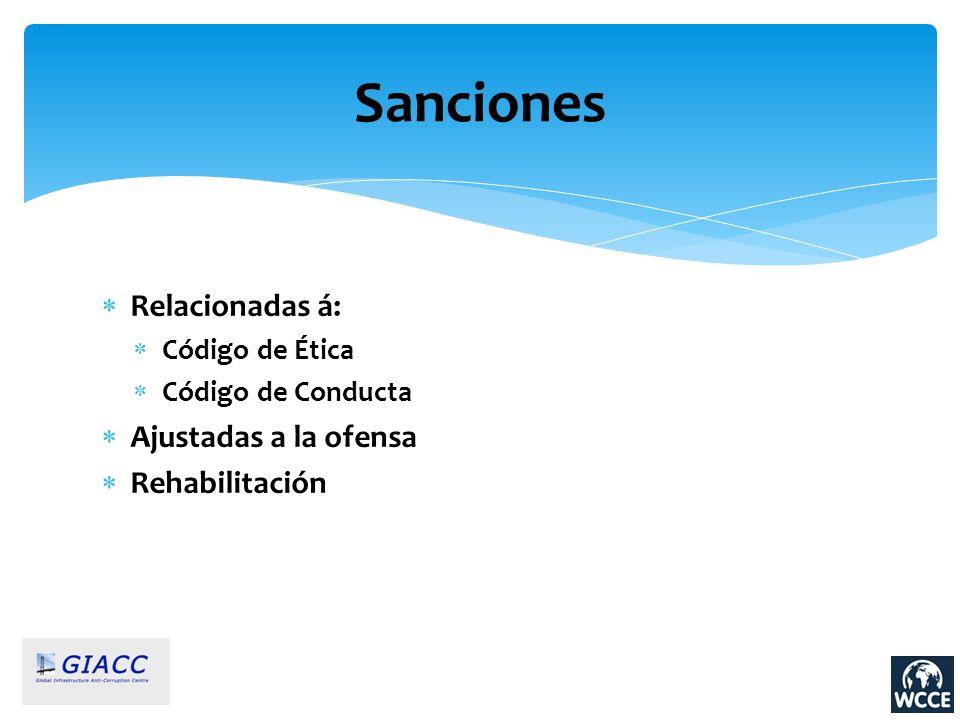 Sanciones Relacionadas á: Código de Ética Código de Conducta Ajustadas a la ofensa Rehabilitación