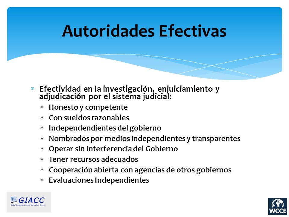 Autoridades Efectivas Efectividad en la investigación, enjuiciamiento y adjudicación por el sistema judicial: Honesto y competente Con sueldos razonab