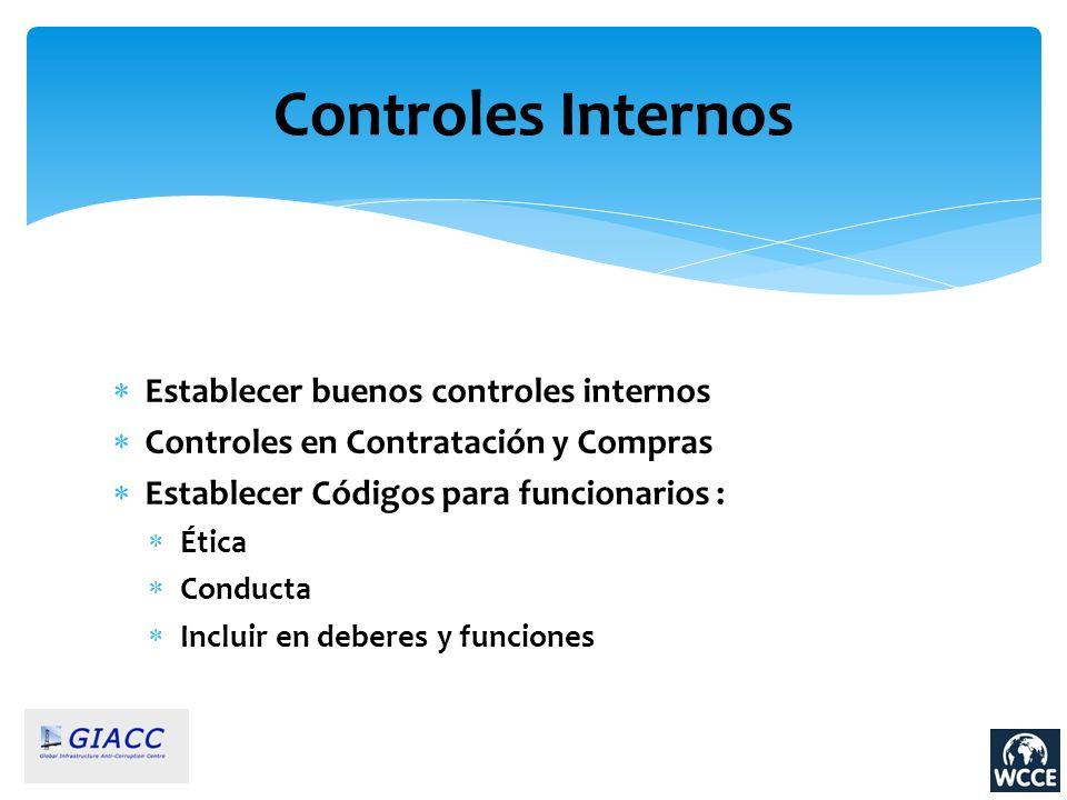Controles Internos Establecer buenos controles internos Controles en Contratación y Compras Establecer Códigos para funcionarios : Ética Conducta Incl