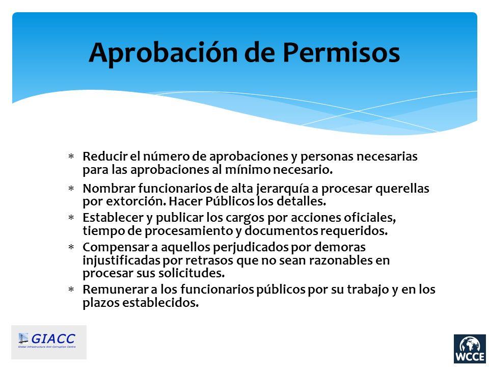 Aprobación de Permisos Reducir el número de aprobaciones y personas necesarias para las aprobaciones al mínimo necesario. Nombrar funcionarios de alta