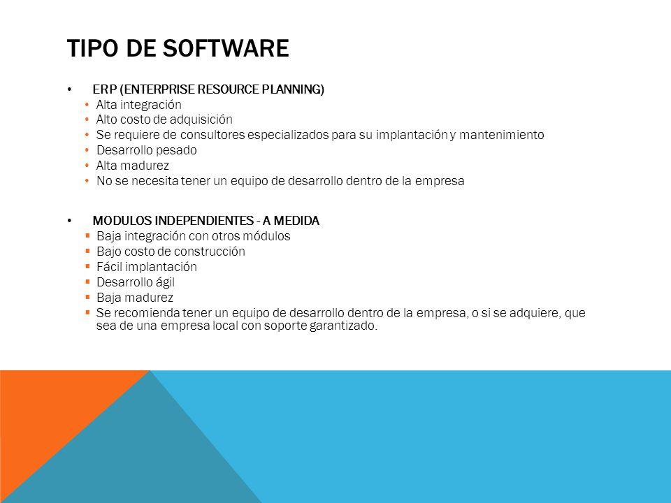 TIPO DE SOFTWARE ERP (ENTERPRISE RESOURCE PLANNING) Alta integración Alto costo de adquisición Se requiere de consultores especializados para su impla
