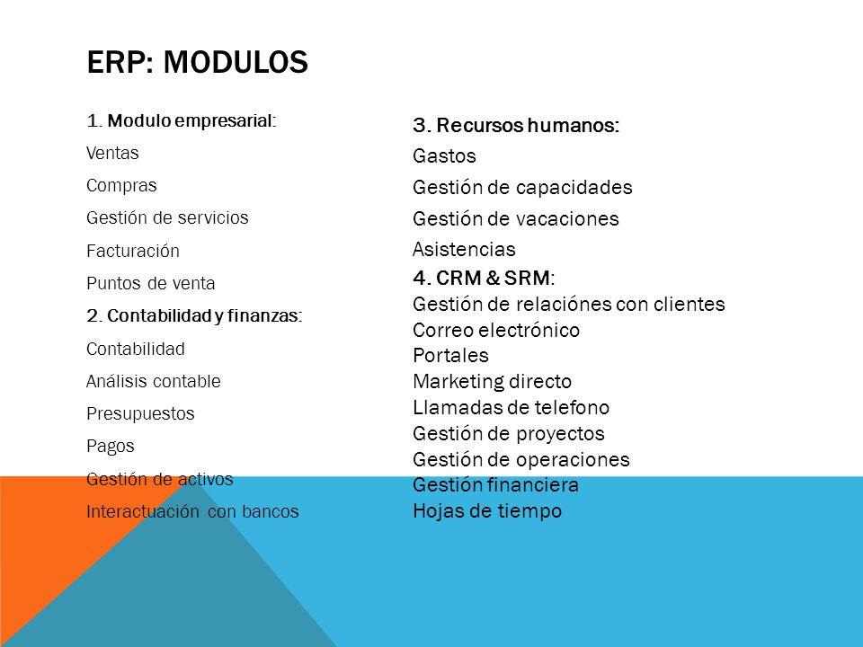ERP: MODULOS 1. Modulo empresarial: Ventas Compras Gestión de servicios Facturación Puntos de venta 2. Contabilidad y finanzas: Contabilidad Análisis