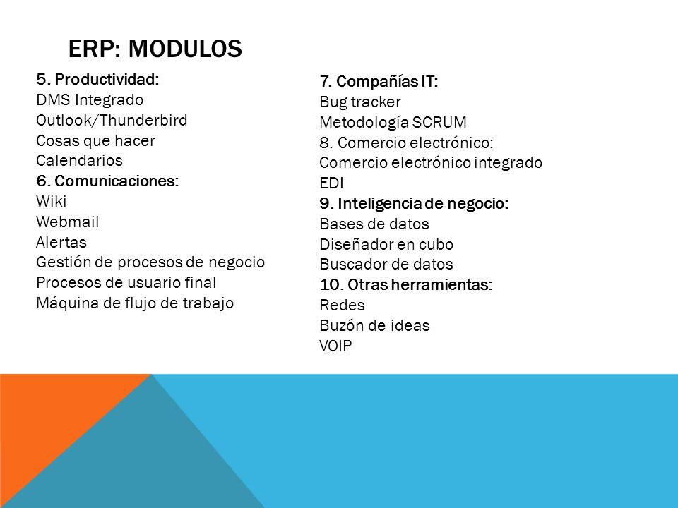 ERP: MODULOS 7. Compañías IT: Bug tracker Metodología SCRUM 8. Comercio electrónico: Comercio electrónico integrado EDI 9. Inteligencia de negocio: Ba