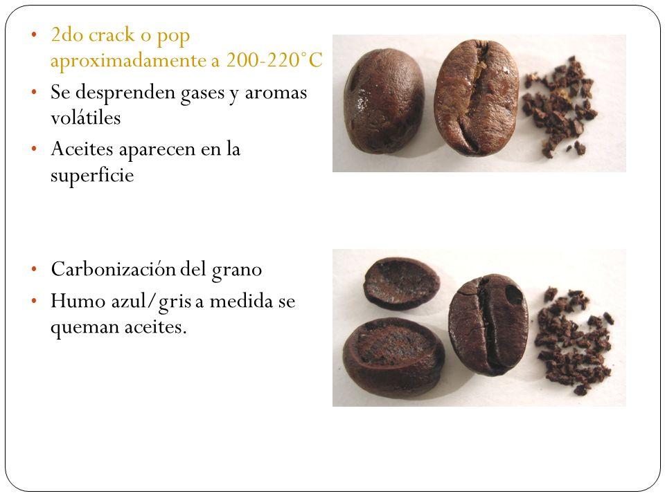 2do crack o pop aproximadamente a 200-220˚C Se desprenden gases y aromas volátiles Aceites aparecen en la superficie Carbonización del grano Humo azul