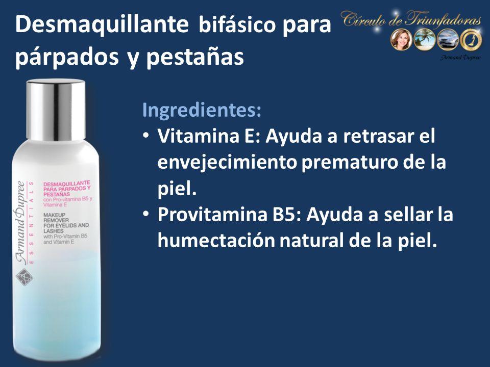 Ingredientes: Vitamina E: Ayuda a retrasar el envejecimiento prematuro de la piel. Provitamina B5: Ayuda a sellar la humectación natural de la piel. D