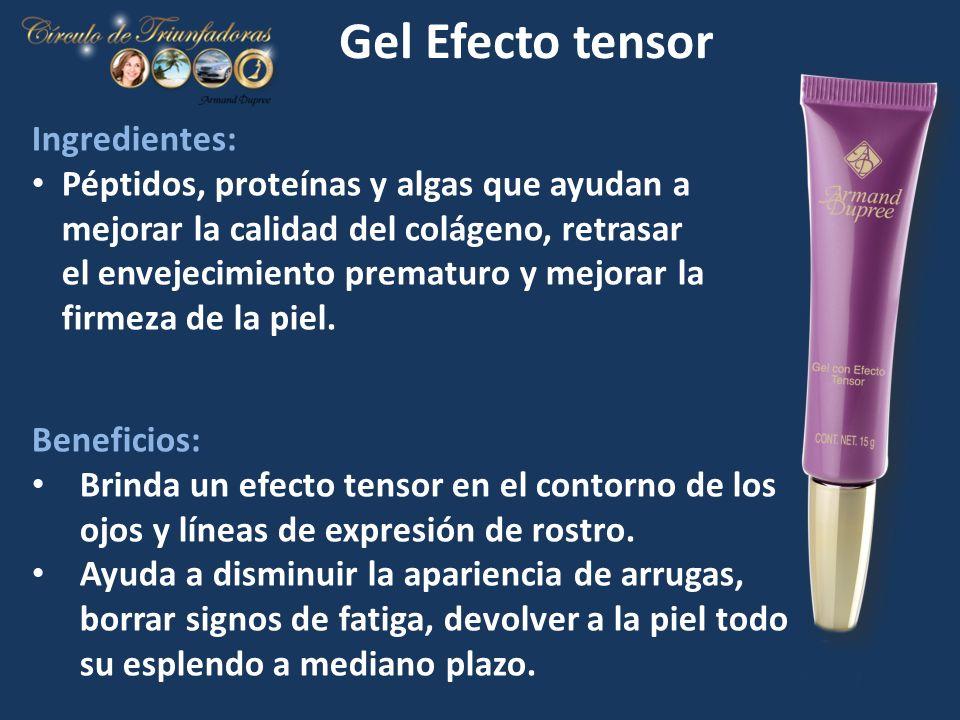 Gel Efecto tensor Ingredientes: Péptidos, proteínas y algas que ayudan a mejorar la calidad del colágeno, retrasar el envejecimiento prematuro y mejor