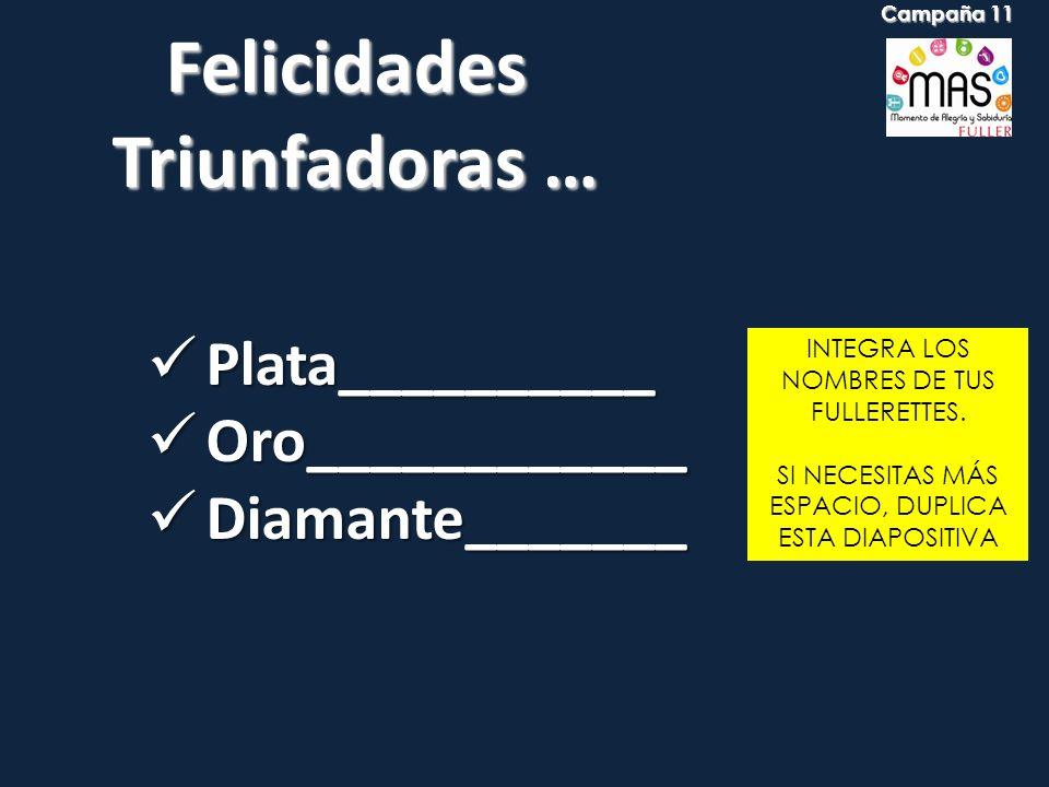 Felicidades Triunfadoras … Triunfadoras … INTEGRA LOS NOMBRES DE TUS FULLERETTES. SI NECESITAS MÁS ESPACIO, DUPLICA ESTA DIAPOSITIVA Plata__________ P