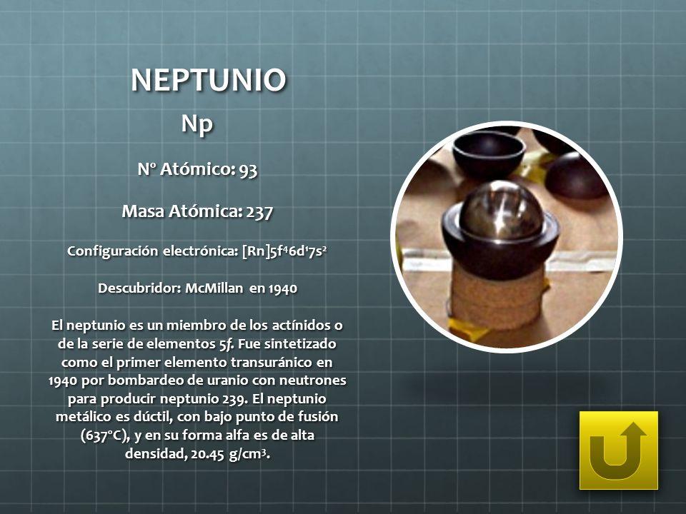 NEPTUNIO Np Nº Atómico: 93 Masa Atómica: 237 Configuración electrónica: [Rn]5f 4 6d 1 7s 2 Descubridor: McMillan en 1940 El neptunio es un miembro de