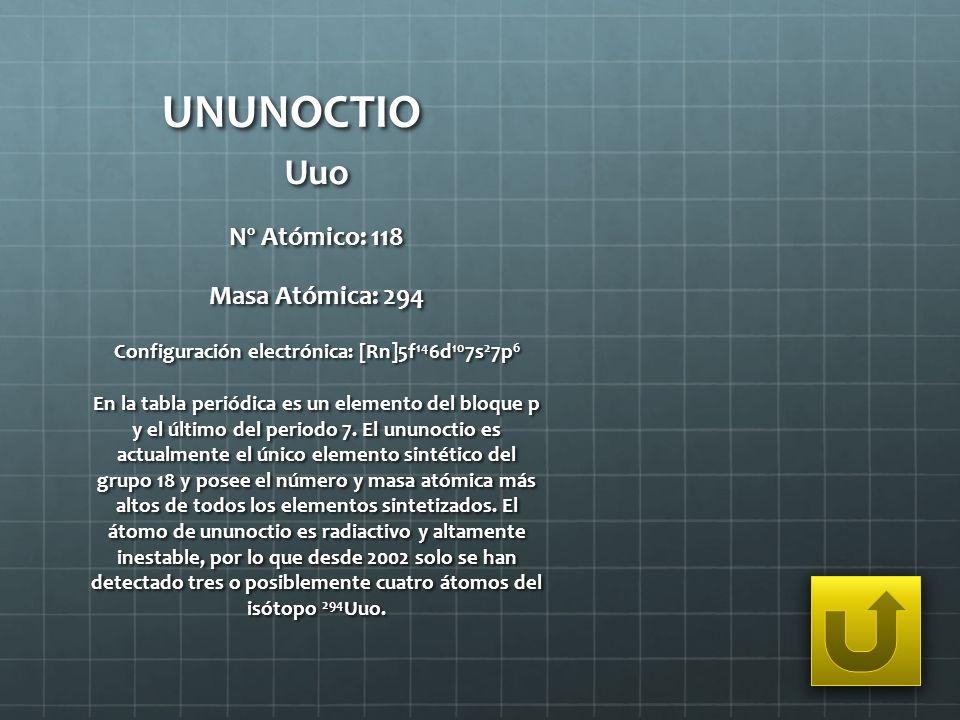UNUNOCTIO Uuo Nº Atómico: 118 Masa Atómica: 294 Configuración electrónica: [Rn]5f 14 6d 10 7s 2 7p 6 En la tabla periódica es un elemento del bloque p