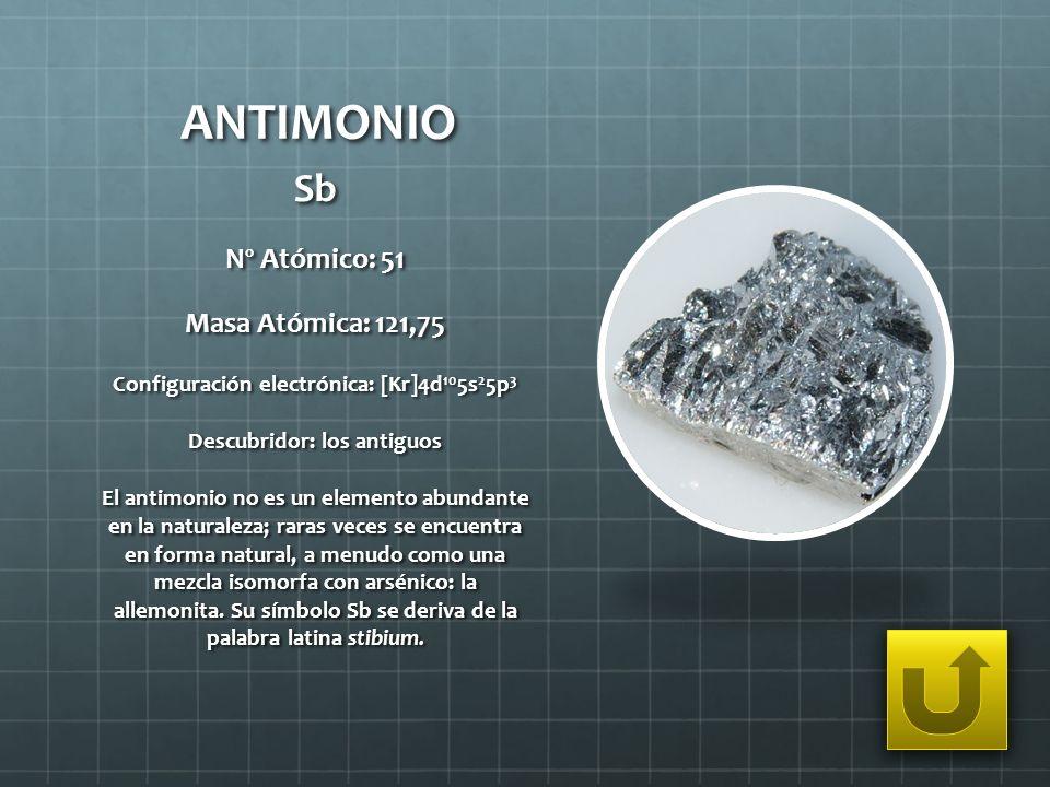 ANTIMONIO Sb Nº Atómico: 51 Masa Atómica: 121,75 Configuración electrónica: [Kr]4d 10 5s 2 5p 3 Descubridor: los antiguos El antimonio no es un elemen