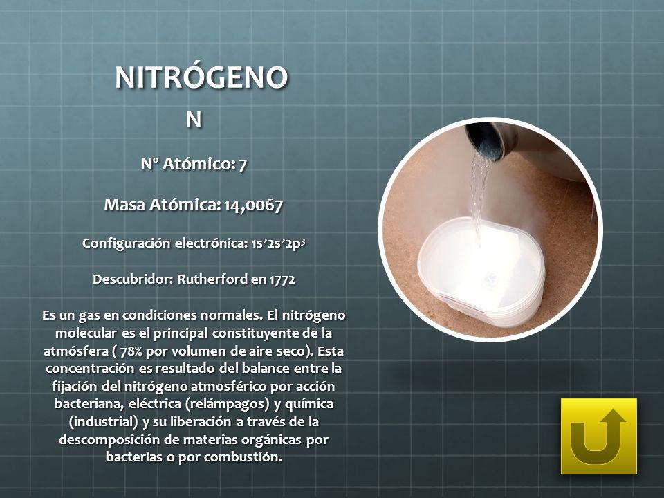 NITRÓGENO N Nº Atómico: 7 Masa Atómica: 14,0067 Configuración electrónica: 1s 2 2s 2 2p 3 Descubridor: Rutherford en 1772 Es un gas en condiciones nor