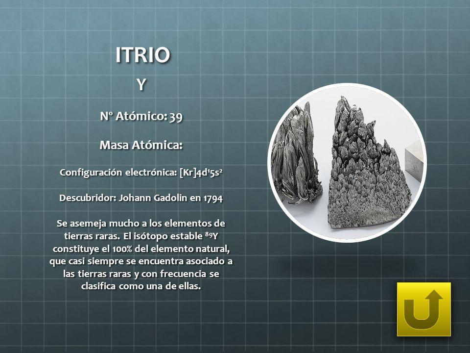 ITRIO Y Nº Atómico: 39 Masa Atómica: Configuración electrónica: [Kr]4d 1 5s 2 Descubridor: Johann Gadolin en 1794 Se asemeja mucho a los elementos de