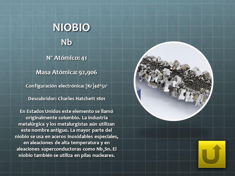 NIOBIO Nb Nº Atómico: 41 Masa Atómica: 92,906 Configuración electrónica: [Kr]4d 4 5s 1 Descubridor: Charles Hatchett 1801 En Estados Unidos este eleme