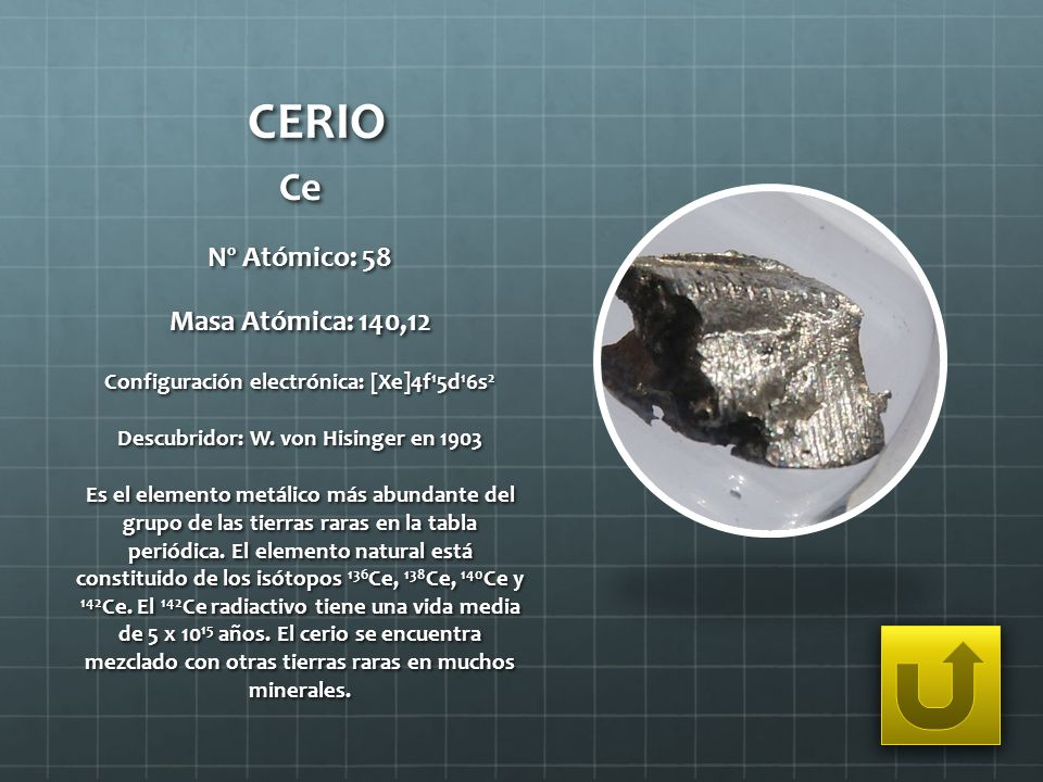 CERIO Ce Nº Atómico: 58 Masa Atómica: 140,12 Configuración electrónica: [Xe]4f 1 5d 1 6s 2 Descubridor: W. von Hisinger en 1903 Es el elemento metálic