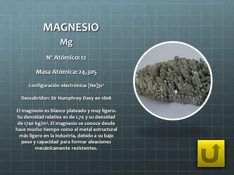 MAGNESIO Mg Nº Atómico: 12 Masa Atómica: 24,305 Configuración electrónica: [Ne]3s 2 Descubridor: Sir Humphrey Davy en 1808 El magnesio es blanco plate